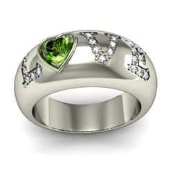Genuine 0.74 ctw Peridot Diamond Ring 14k W/Y Gold