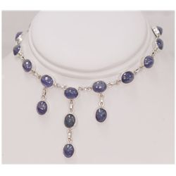 NATURAL 115.18 CTW TANZANITE OVAL NECKLACE .925 STERLIN