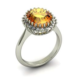 Citrine  4.42 ctw & Diamond Ring 14kt W/Y  Gold