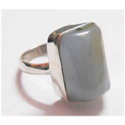 NATURAL 35.40 CTW CALCEDONIA EMERALDCUT RING .925 STERL