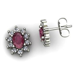 Genuine 3.64 ctw Ruby Diamond Earring 10k W/Y Gold