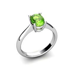 Genuine 1.35 ctw Peridot Ring 14k W/Y Gold