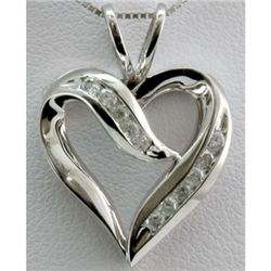 Genuine 0.27 ctw Diamond Heart Pendant 14k W Gold