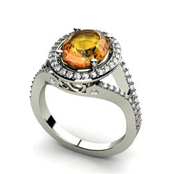 Citrine 2.98 ctw & Diamond Ring 14kt W/Y  Gold