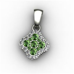 Genuine 0.52 ctw Green Tourmaline Diamond Pendant 14k