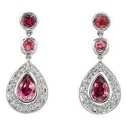 NATURAL 0.25 CTW PINK TOURMALINE EARRING 14K GOLD