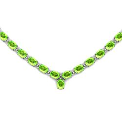 Natural Peridot 55.35ctw Oval Necklace 14kt W/Y Gold