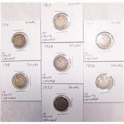 (7X$) CHOICE EARLY CANADIAN DIMES-SILVER 1916 THRU 1936