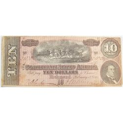 EXTREMELY RARE CONFEDERATE STATES OF AMERICA $10 BILL.