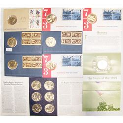 (11X$) AMERICAN REVOLUTION, L.A OLYMPICS, WWII COMMEMORATIVE COIN SETS.