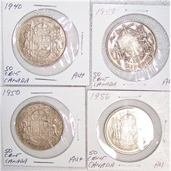 (4X$) SILVER CANADIAN HALVES, A.U CONDITION, 1940-1956.