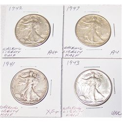 (4X$) U.S WALKING LIBERTY HALVES XF -UNC CONDITION, 1940-1956.