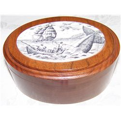 Koa Wood Box w/ Scrimshaw Container.