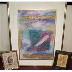 (3) Piece Art Lot including (2) Paintings (1) Print, all nicely framed