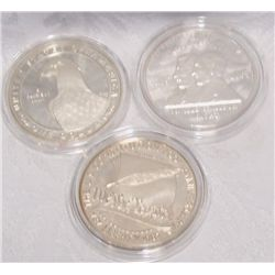 (3X$) U.S MINT 90% SILVER COMMEMORATIVE DOLLARS.