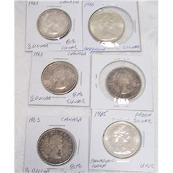(6X$) CANADIAN SILVER HALF DOLLARS XF+ UNC CONDITION