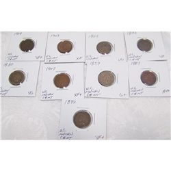 (9X$) U.S INDIAN CENTS G+ to AU+ CONDITION. 1859-1909.