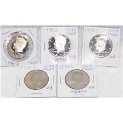 "(5X$) KENNEDY ""CAMEO PROOFS"" HALF DOLLARS 1971-S to 1988-S."