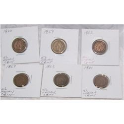 (6X$) U.S INDIAN CENT 1859-1863 VG- FINE CONDITION