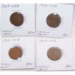 (4X$) 1909 VDB LINCOLN WHEAT PENNIES XF-AU+ CONDITION