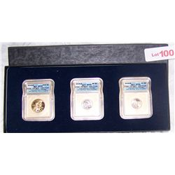 SET OF 2005-D SP69 SATIN GRADE NICKELS and SAC DOLLAR.