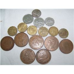 SEVENTEEN ASSORTED FOREIGN COINS.