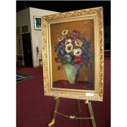 "R. MASON ""STILL LIFE WITH FLOWERS"" VINTAGE OIL ON CANVAS . NICELY FRAMED"