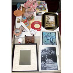 20+Piece Lot of Assorted Decorative Collectibles, Including paintings, pottery, collectibles.