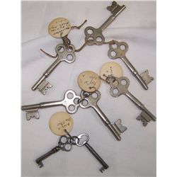EIGHT ASSORTED VINTAGE/ANTIQUE SKELETON KEYS.