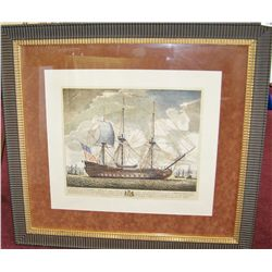 "Framed Artwork of French Ship ""Terrible""."