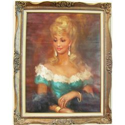 Vintage Portrait Oil on Canvas Painting.