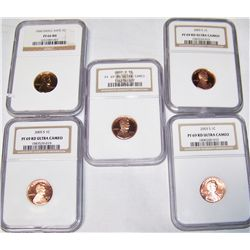 (5X$) NGC Certified PR69-PR66 Proof Lincoln Cents.