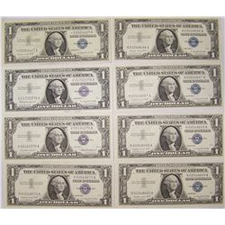 (8X$) $1 Silver Certificates. UNC In Sequence.