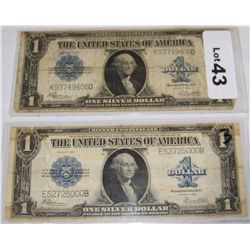 (2X$)  U.S. $1 Large Currency Silver Certificates.
