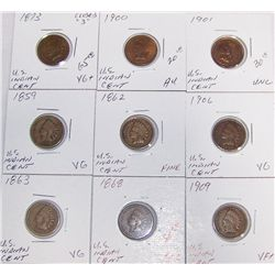"(9X$)  U.S. Indian Cents. Many ""Key Dates""."