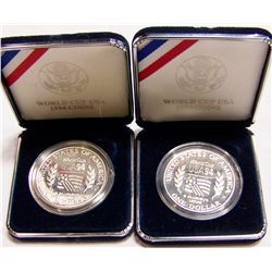"(2X$)  U.S. 1994 World Cup Silver Dollar ""Proofs"""