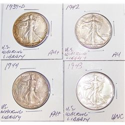 (4X$) U.S. Silver Walking Liberty Halves.