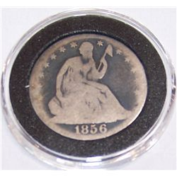 1856 U.S. Silver Seated Half Dollar.