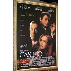 "RARE SIGNED ""CASINO"" MOVIE POSTER W/ C.O.A , CUSTOM FRAMED."