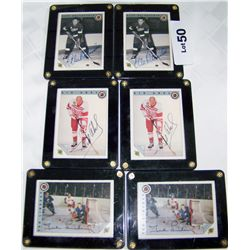 SIX SIGNED HALL OF FAME SLABBED HOCKEY CARDS.