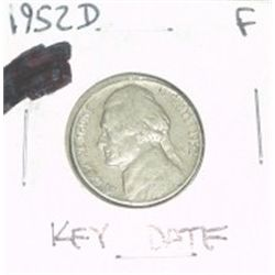 1952-D JEFFERSON NICKEL *RARE KEY DATE - FINE GRADE*!!