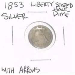 1853 LIBERTY SEATED HALF DIME SILVER WITH ARROWS !!