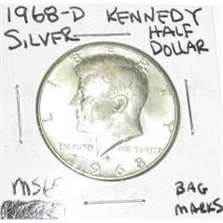 1968-D SILVER KENNEDY HALF DOLLAR *EXTREMELY RARE MS-65 HIGH GRADE*