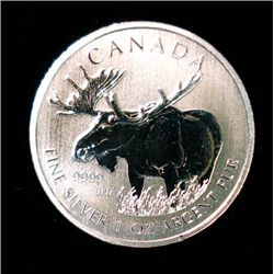 2012 CANADIAN MOOSE FROM THE WILDLIFE SERIES BU 1 OUNCE .999 SILVER COIN