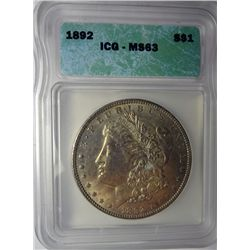 1892 MORGAN DOLLAR ICG MS63 SUPER COLOR