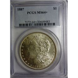 1887 MORGAN DOLLAR PCGS MS64 +