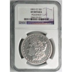 1892-CC MORGAN DOLLAR NGC XF, CLEANED