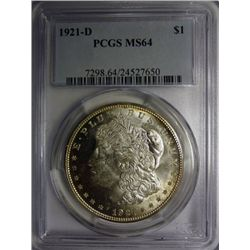 1921-D MORGAN DOLLAR PCGS MS64