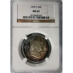 1949-S FRANKLIN HALF DOLLAR NGC MS63