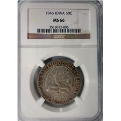 1946 IOWA HALF DOLLAR NGC MS66 SUPER COLOR